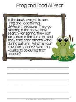 Frog and Toad All Year Book Report Packet