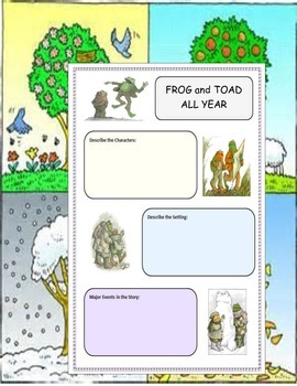 Frog and Toad All Year ELA Reading Novel Study Guide Printable CCSS