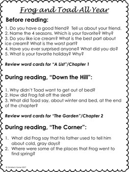 Frog and Toad All Year Guided Reading Novel Study Worksheets No Prep Activities