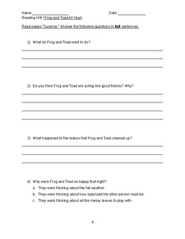 Frog and Toad All Year HOMEWORK QUESTIONS
