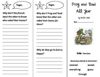 Frog and Toad All Year Trifold - Storytown 2nd Grade Unit 1 Week 2