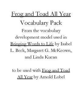 Frog and Toad All Year Vocabulary Pack