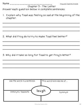 Frog and Toad Are Friends Book Study
