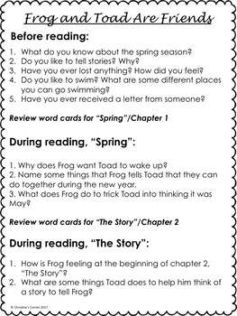 photo regarding Frog and Toad Are Friends Printable Activities called Frog and Toad Are Mates Guided Looking through Novel Investigate Worksheets No Prep