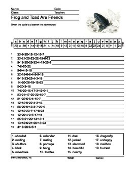 Frog and Toad Are Friends Secret Code Printable Worksheet and Answer Key