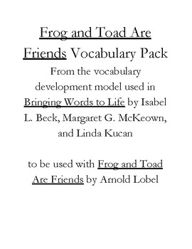 Frog and Toad Are Friends Vocabulary Pack