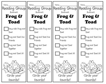 Frog and Toad Bookmarks