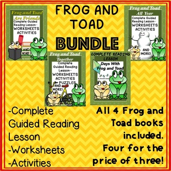 Frog and Toad Bundle 4 Books Guided Reading Novel Study Worksheets No Prep