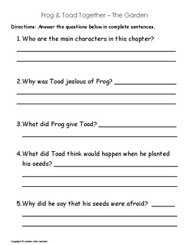 Frog and Toad Comprehension Unit