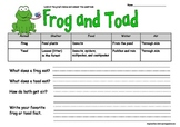 Frog and Toad Graph Reading and Writing Activity Printable