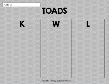 Frog and Toad Graphic Organizers and KWL Charts