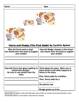 Frog and Toad, Henry and Mudge, BlueBonnet Reading Worksheets