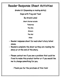 Frog and Toad Reader Response Sheets