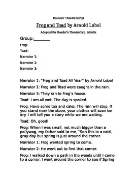 Frog and Toad Reader's Theatre *EDITABLE
