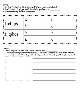 Frog and Toad Skill Packet