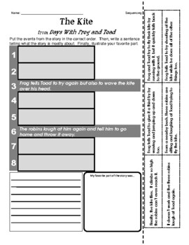 Frog and Toad: The Kite (Journeys Series) - Sequencing / Retelling