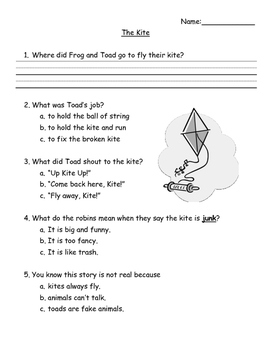 Frog and Toad:  The Kite activity pages