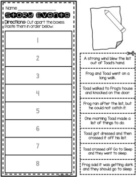 """Frog and Toad Together - Activities for """"A List"""""""