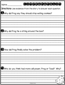 """Frog and Toad Together - Activities for """"Cookies"""""""