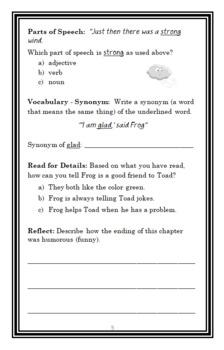 Frog and Toad Together (Arnold Lobel) Novel Study / Comprehension  (19 pages)
