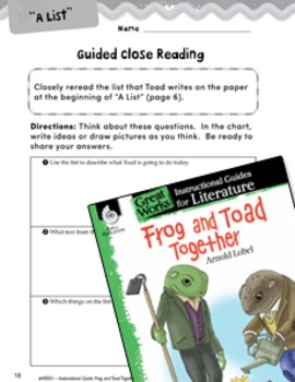 Frog and Toad Together Close Reading and Text-Dependent Questions