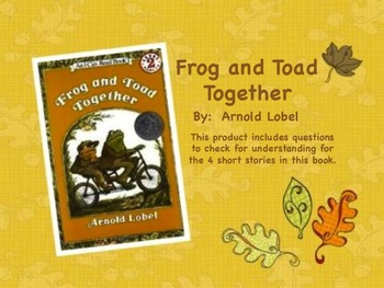 Frog and Toad Together Comprehension Questions