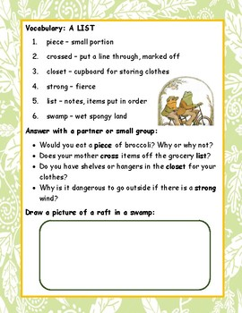 Frog and Toad Together ELA Reading Novel Study Guide Printable CCSS