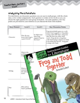 Frog and Toad Together Leveled Comprehension Questions