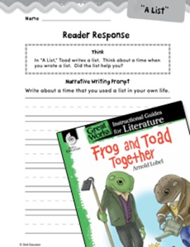 Frog and Toad Together Reader Response Writing Prompts