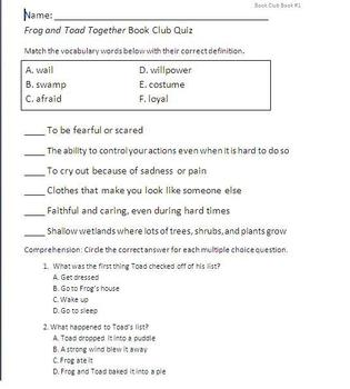 Frog and Toad Together Superkids Book Club #1 Quiz