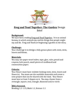Frog and Toad Together: The Garden STEM Design Brief Children's Engineering
