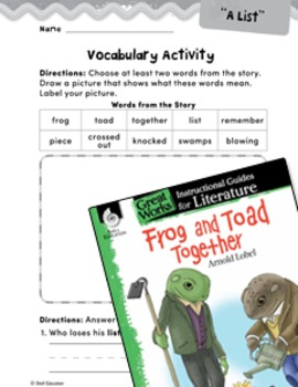 Frog and Toad Together Vocabulary Activities