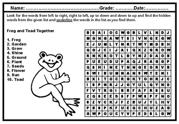 Frog and Toad Together, Word Search, Grade 1, Literature Vocabulary Sub Plan