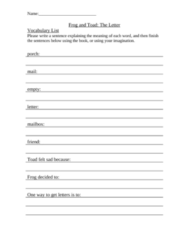 Frog and Toad Vocabulary & Comprehension Worksheets