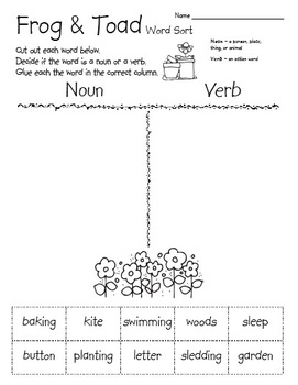 Frog and Toad Word Sort