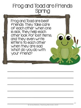 Frog and Toad are Friends Book Report Packet