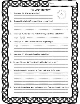 Frog and Toad are Friends: text-dependent questions and worksheets