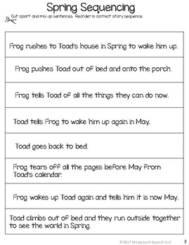 """Frog and Toad in """"SPRING"""" (Mini-Lesson):  8 *NO PREP* B/W worksheets"""