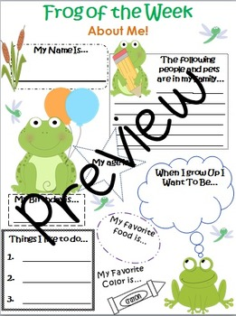 Frog of the Week About Me Page