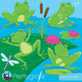 Frog pond clipart commercial use, vector graphics, digital - CL688