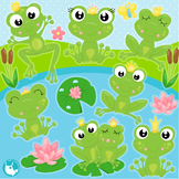 Frog prince and princes clipart commercial use, vector graphics  - CL1083