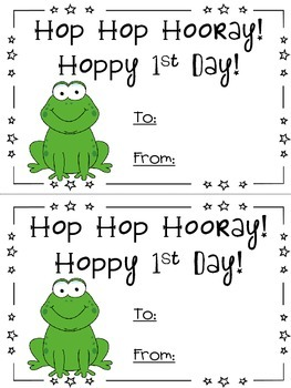 Frog theme - First day of school card - Back to School