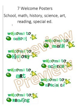 Frog theme welcome posters by subject
