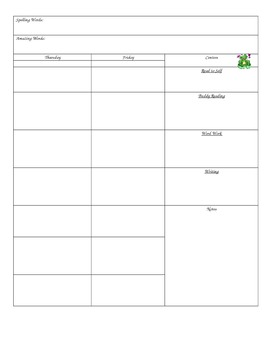 Frog themed editable lesson plan page