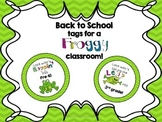Frog themed tags for Back to School treats!