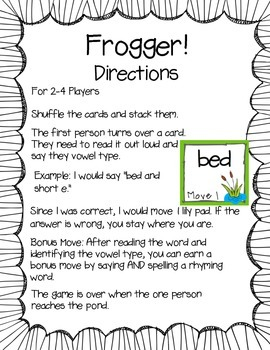 Frogger! Short Vowels