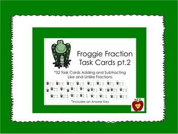 Fraction Task Card Bundle {64 Cards - Frog Theme}