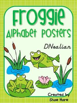 Froggie Themed Alphabet Posters {Frog Pond} DNealian Font