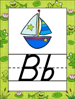 Froggie Themed Alphabet Posters {Frog Pond} DNealian Font {Handwriting Lines}