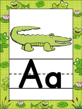 Froggie Themed Alphabet Posters {Frog} Zaner Bloser Font {Handwriting Lines}